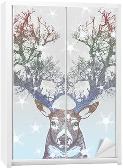 Frozen tree horn deer Wardrobe Sticker