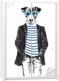 Hand drawn dressed up dog in hipster style Wardrobe Sticker