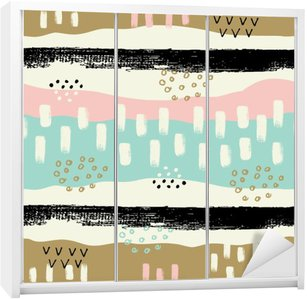Hand drawn seamless pattern with brush strokes in pastel colors. Wardrobe Sticker