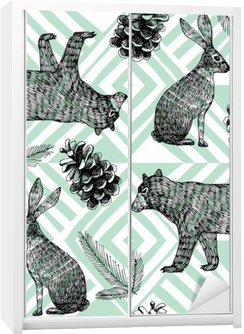 hand drawn winter trendy pattern, geometric background Wardrobe Sticker