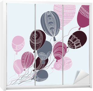 Illustration with colorful flying balloons Wardrobe Sticker