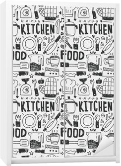 Wardrobe Sticker Kitchen elements doodles hand drawn line icon,eps10