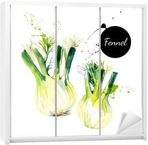 Kitchen herbs and spices banner. Vector illustration. Watercolor Wardrobe Sticker