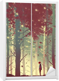 man standing in beautiful forest with falling leaves,illustration painting Wardrobe Sticker