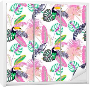 Monstera tropic pink plant leaves and toucan bird seamless pattern. Exotic nature pattern for fabric, wallpaper or apparel. Wardrobe Sticker