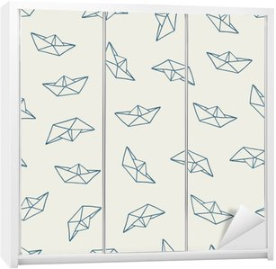 Paper boat seamless pattern Wardrobe Sticker