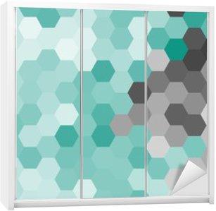 Pastel blue geometric hexagon pattern without contour. Wardrobe Sticker