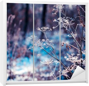 Plants covered with hoarfrost Wardrobe Sticker