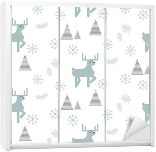 Reindeer in a snowy woods seamless vector pattern. Scandinavian style white and blue pastel background. Wardrobe Sticker