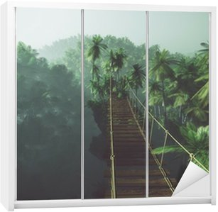 Rope bridge in misty jungle with palms. Backlit. Wardrobe Sticker