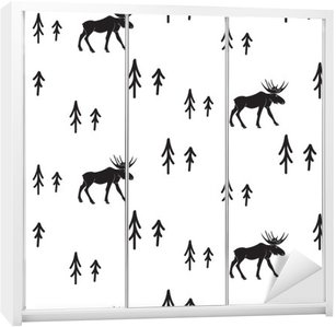 Scandinavian simple style black and white deer seamless pattern. Deers and pines monochrome silhouette pattern. Wardrobe Sticker