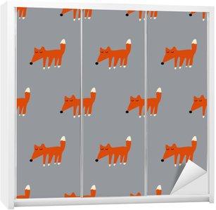 seamless cute fox pattern Wardrobe Sticker
