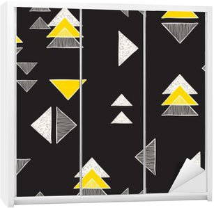 Wardrobe Sticker Seamless hand-drawn triangles pattern.