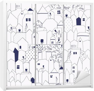 Seamless pattern. Figure cities in vintage style. Wardrobe Sticker