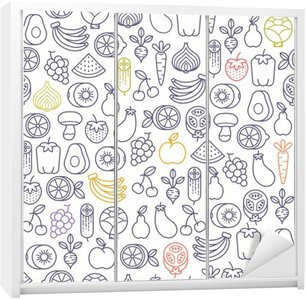 seamless pattern with fruits and vegetables icons Wardrobe Sticker