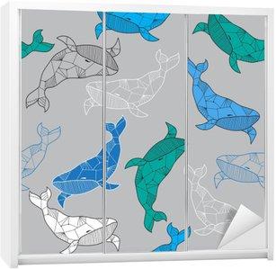 Seamless sea pattern with hand drawn whales Wardrobe Sticker
