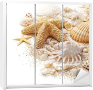 seashells and sand on white background Wardrobe Sticker