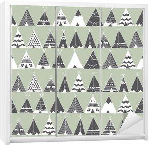 Wardrobe Sticker Teepee native american summer tent illustration.