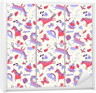 Vector cute floral seamless pattern with magic unicorns Wardrobe Sticker