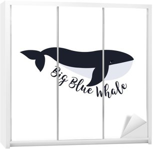 Wardrobe Sticker Vector illustration of whale. Symbol design
