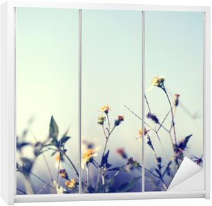 Wardrobe Sticker Vintage photo of nature background with wild flowers and plants