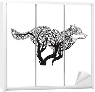 Wolf run silhouette double exposure blend tree drawing tattoo vector Wardrobe Sticker