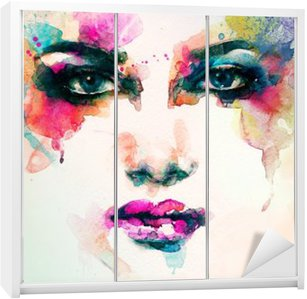 woman portrait .abstract watercolor .fashion background Wardrobe Sticker