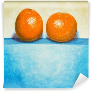 Washable Wall Mural a painting of two oranges