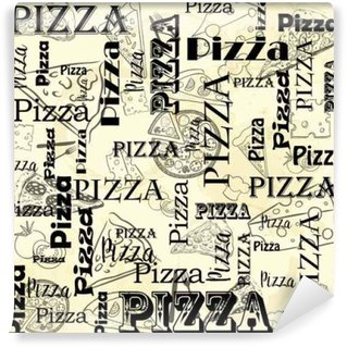 A set of food for the cafe, restaurant and fast food on paper stained in spots. Pizzeria, Italian Cuisine
