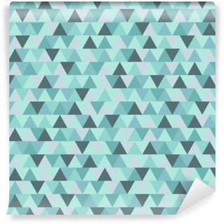 Abstract Christmas triangle pattern, blue grey geometric winter holiday background Washable Wall Mural