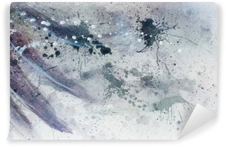 abstract painting with blurry and stained structure with gentle feather silhouette.
