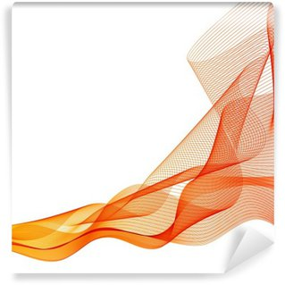 Washable Wall Mural Abstract vector orange wave background waved lines
