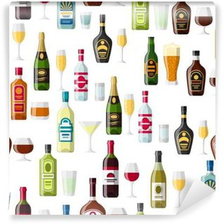 Washable Wall Mural Alcohol drinks seamless pattern. Bottles, glasses for restaurants and bars