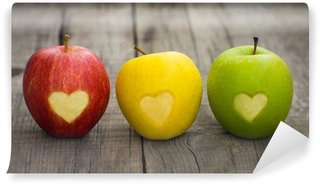 Washable Wall Mural Apples with engraved hearts
