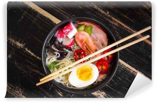 Washable Wall Mural Asian noodle soup in a black bowl