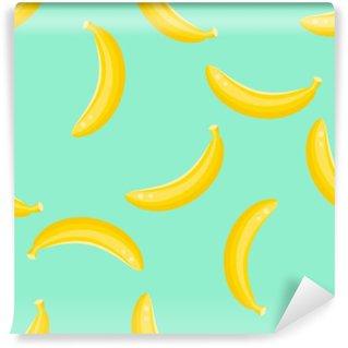 Banana fruit seamless vector pattern. Yellow banana food background on green mint. Washable Wall Mural