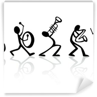 Washable Wall Mural Band musicians playing music, vector ideal for t-shirts