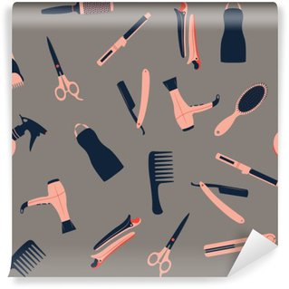 Barber shop seamless pattern Washable Wall Mural