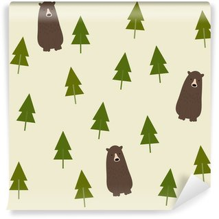 Washable Wall Mural Bear and forest seamless background.