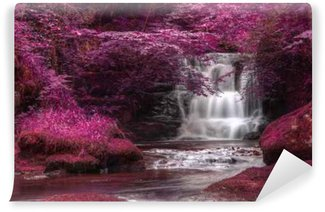 Beautiful alternate colored surreal waterfall landscape Washable Wall Mural