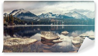 beautiful autumn morning over a mountain lake Strbske Pleso,retro colors, vintage Washable Wall Mural