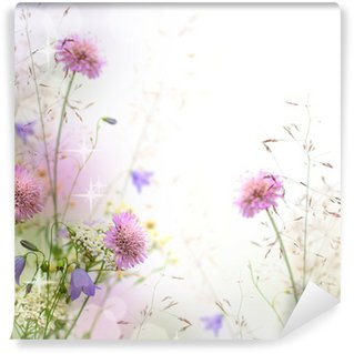 Washable Wall Mural Beautiful pastel floral border - blurred background