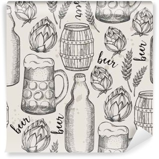 Beer seamless pattern background.