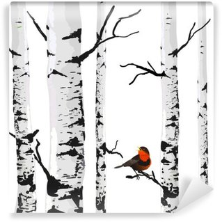 Bird of birches, vector drawing with editable elements. Washable Wall Mural