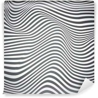 Washable Wall Mural Black and white curved lines, surface waves, vector design