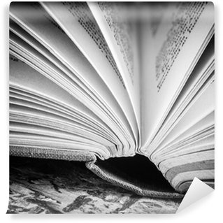 Washable Wall Mural black and white Open book