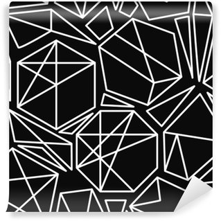 Black and white vector geometric seamless pattern Washable Wall Mural