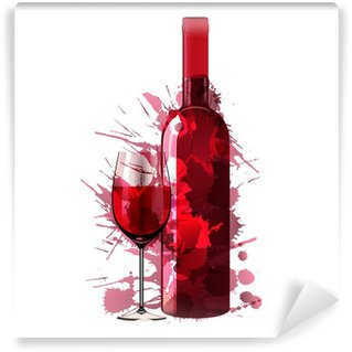 Washable Wall Mural Bottle and glass of wine made of colorful splashes