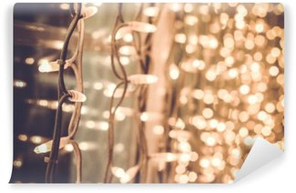 bright gorgeous beautiful christmas lights on the window in the Washable Wall Mural