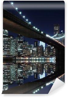 Brooklyn Bridge and Manhattan Skyline At Night, New York City Washable Wall Mural